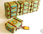 BULK DEAL Set of 10 Travel Suitcase Boxes: Physical Item, Gift Box Colourful Turquoise Blue Trunk design | Pre-cut No Sticking Wedding Favor