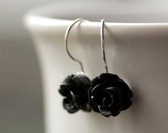 Black Rose Earrings. Dangle Earrings. Black Earrings. Black Flower Earrings. Silver Lever Back Earrings. Handmade Jewelry.