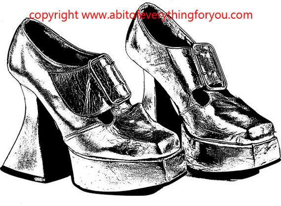 1070s buckle high heel shoes clipart png Digital Download fashion printable art Image graphics digital stamp black and white art
