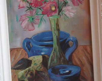 Still Life Pear, Blue Pottery, Cosmo Bouquet, Print Oil Painting 5x7, 8x10, 11x14, 16x20, gift for mother, grandma, aunt, friend