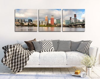 "Portland Skyline Canvas | ""Portland Skyline Panorama"" 