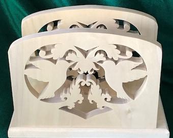 Handcrafted Wood Hummingbird Napkin or Mail Holder Home Decor, Wedding, Shower, Birthday, Housewarming Gift Idea
