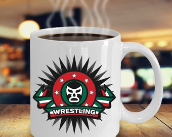 Masked Wrestling Coffee Mug 11oz White Ceramic Cup, Wrestler, Gift For Wrestlers, Wrestler Gift