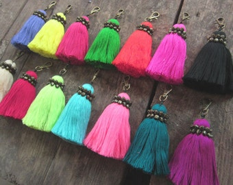 """Tassel Keychain, Large Tassel Keyring, Personalized Keychain Colors, Purse Charm, Gift for Her, Friend, Birthday, 6"""" Tassel, Assorted Colors"""