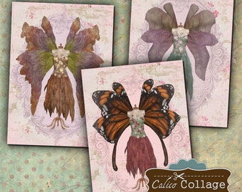 Fairy Dress Forms Digital Collage Sheet, ATC Collage Sheet, Digital Images for Tags, Greeting Card, Gift Tags, Mixed Media Art, Scrapbooking