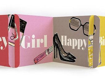 Hey Girl Happy Birthday -  CARDzees, upcyle this unique, collectible birthday card, zig zag, modular greeting card