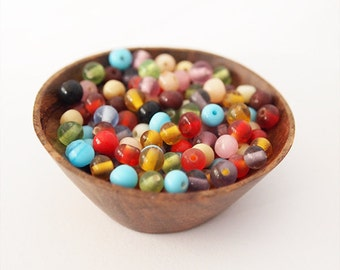 15 gram Round Glass Bead Mix Assorted Colours Bohemian Style Size 4mm approximately 145 beads