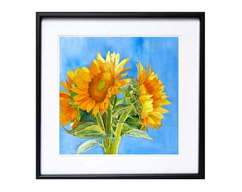 Sun Flower Art WatercolorPrint Still life floral painting Watercolour fine art print Bright painting yellow blue painting realistic artwork