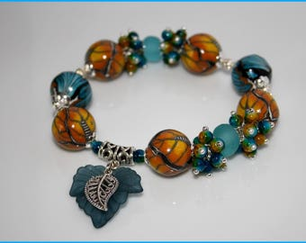 Bracelet * Duo blue and gold *.