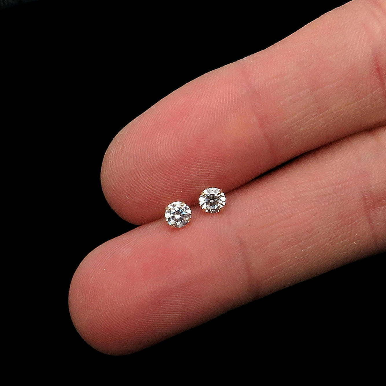 0.5CT Brilliant Simulated Diamond Solitaire Earrings 14K Solid ...