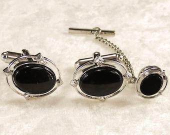 Dante Elegant Black Oval Stone and Silver Tone Cufflinks & Tie Tac - Vintage Silver Tone Black Oval Stone Cuff Links and Matching Tie Tack