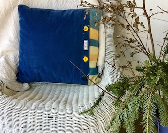 Blue corduroy and vintage blue, yellow, and cream striped wool make this pillow my favorite!