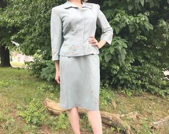 Seafoam Donna Morgan Embroidered Suit Set