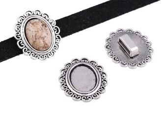 x 1 medium cabochon or cameo 13 x 18 mm antique silver loop medieval.