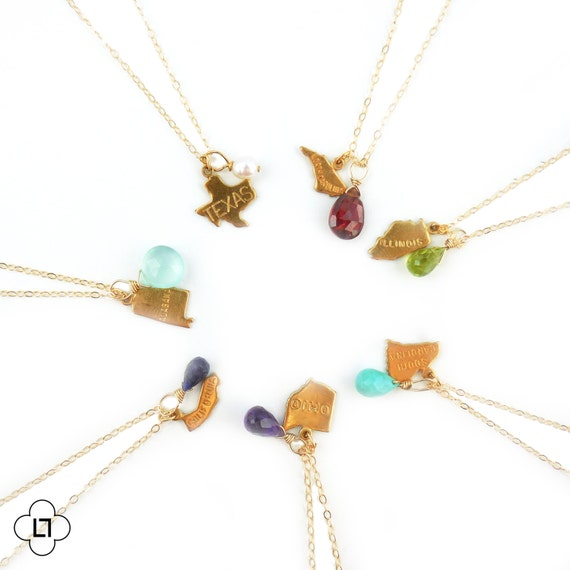 Birthstone State Charm Necklace