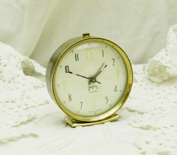 Small Working Vintage Mid Century 1960s French Mechanical Wind Up Japy Alarm Clock, Small 60s Tiny Retro Bedside Timepiece from France