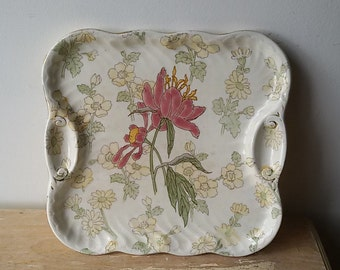 K - G Luneville / plate, small flat square model Olga / french Antique