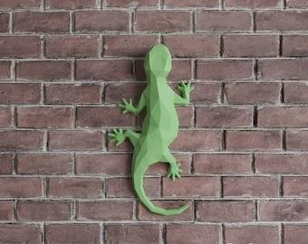 3D Papercraft Salamandra, Reptile Salamander, PDF Kit, Lizard Gecko Decor, DIY Gift, Wall Decor 3D Paper Sculpture, Origami Digital Download