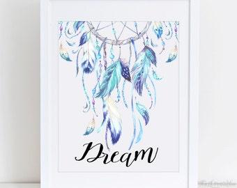 Dream Dreamcatcher Printable, Wall Art Decor, Watercolor Printable, Feather  Wall Art, Blue
