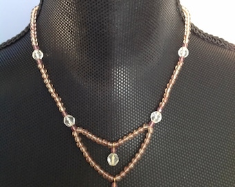 Light Pinkish & Clear Beaded Necklace