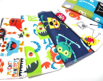 Cloth Napkins, 5 Monster and And Alien Napkins,  Kids Napkins, Boys Monster Casual Everyday Lunch Napkins, Monster Lunchbox Napkins