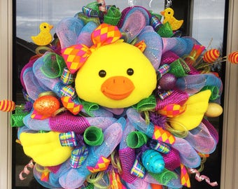 Easter Chick Wreath, spring wreath, Easter wreath, wreaths for spring, easter wreath for front door, wreaths for front door, wreath kit