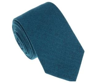 Teal Blue Wool Tie.Teal Blue Wedding Tie.Teal Blue Skinny Tie.Teal Necktie for Men Wedding.Groomsmen Attire.Gift