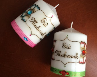 Eid Mubarak, Henna Candle, Eid Gift, Ramadan, Eid Festival Home Decor, Eid Party Table Display, Festival, Eid Decoration