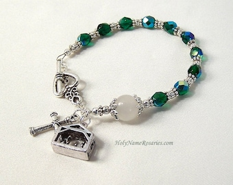 Holy Family Rosary Bracelet Chaplet Single Decade Green Manger Nativity St Therese Miraculous Medal Single DecadePrayer Beads