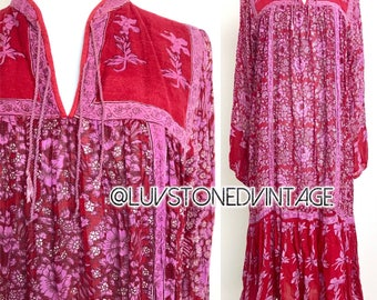 70s Vintage California Dream Ethnic Boho Hippie Cotton Gauze Indian Gypsy Festival Tunic Dress D178 . SML . 1308.110317