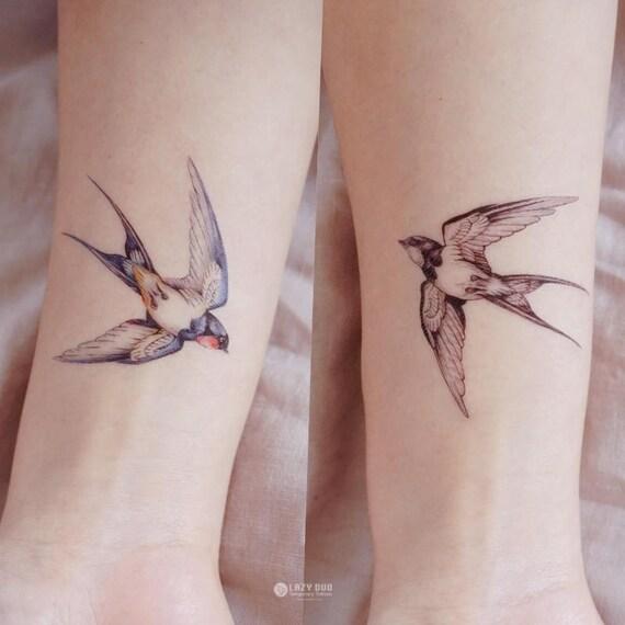 Lazy duo bird tattoo swallow tattoo animal tattoo flash for Realistic temporary tattoos