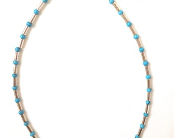 "4mm Turquoise Beads +Sterling Silver Tubes (15.75"")"