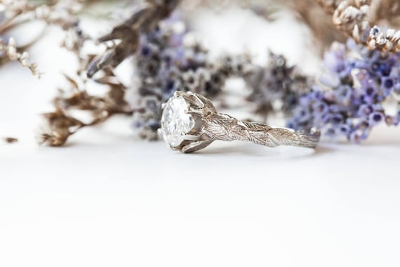 14k gold moissanite leaf twig engagement ring, forever one moissanite gold engagement ring, twig nature ring, diamond twig ring
