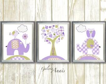 Kids wall art baby girl nursery decor elephant nursery wall art kids wall decor  tree owl nursery bird - Set of 3 Prints - Tree Of Love
