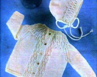 BABY KNITTING PATTERN - Smocked Jacket & Bonnet To fit 18 - 20 inch chest