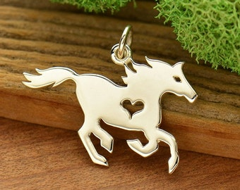 Horse charm with heart, equestrian jewelry, sterling silver pendant, diy gift for her, mustang, wild horse, cowgirl charm