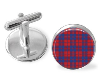 MACGREGOR TARTAN CUFFLINKS / Scottish Tartan Cuff Links / Tartan Jewelry / Personalized Gift  / Ancestral Jewelry / MacGregor  Clan Plaid