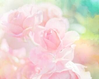 Pink Roses photo Pastel flower Digital Download Nursery Art Girls Room painterly flowers pastel wall art decor