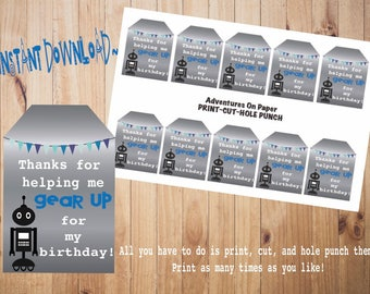 Robot Party Favor Tags~Instant Download~