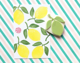 lemon rubber stamp | lime stamp | tropical citrus fruit stamp | summer scrapbooking | diy gift wrapping | hand carved by talktothesun