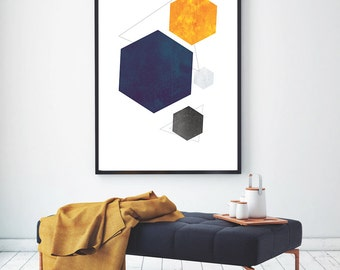 Printable Geometric Art, Scandinavian Print, Abstract Art, Modern Mid-Century Art, Nordic Poster, Hexagon Print, Instant Download