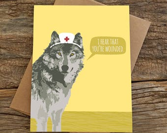 funny get well soon card / wolf