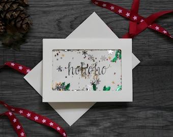 Hand Made 'Ho Ho Ho' A6 Ivory shaker Card
