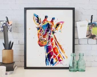 Colorful Giraffe Watercolor Painting - print of original Giraffe art (FREE Shipping)