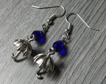 Umbrella Earrings - Weather Earrings - Storm Earrings - Rain Earrings - Silver Umbrella Earrings - Blue Teardrop Earrings - Umbrella Charm