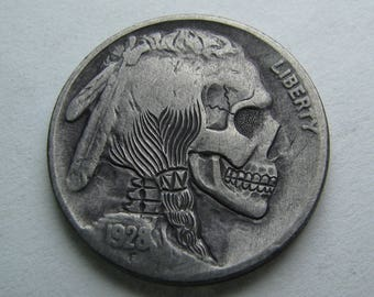 Hobo Nickel Skull By M.J. Petitdemange engraved coin,memento mori,carved skull,Jewelry,Art-metal-Groomsman gift-Halloween,Day of the Dead