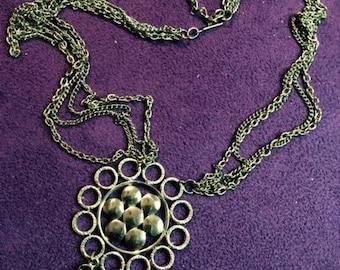 Vintage Lisner Necklace, Pendant necklace, Silver tone, Gift