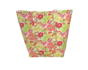 Floral Tote Bag, Cloth Purse, Handmade Handbag, Beige, Green, Yellow, Coral, Pink, Flowers, Fabric Bag, Shoulder Bag