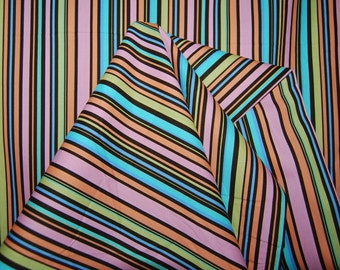 Michael Miller Fabric by the yard Cha Cha stripes pink turquoise multicolor stripe festive fabric quilt fabric summertime cloth napkins