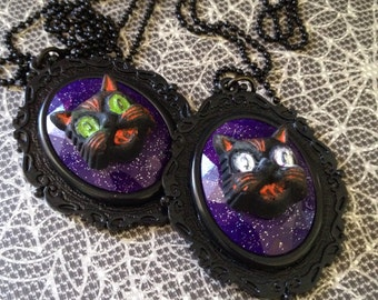 """Hallowen Cat Cameo Necklace - Faceted Glitter - Vintage Reproduction Retro - 30"""" Black Ball Chain"""